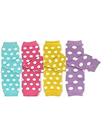 ALLYDREW 4 件装婴儿护腿套装 & 学步儿童护腿套装 适合男孩和女孩,圆点浅蓝色、桃红色、黄色、淡紫色