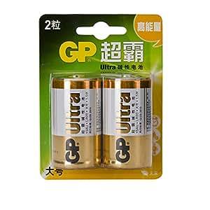 GP 超霸 1号碱性电池一号LR20高能无汞大号D型GP13AU-21L2 2节卡装