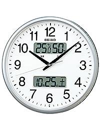 セイコー クロック 掛け時計 電波 アナログ カレンダー 溫度 濕度 表示 銀色 メタリック KX235S SEIKO