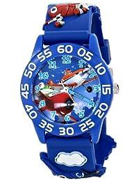 """Disney 兒童 W001528 """"Time teacher"""" 飛機手表,藍色3-D 塑料表帶"""
