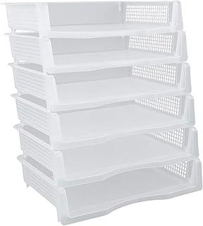 Obston 塑料桌面收纳盒 6 层纸质文件夹 适用于家庭/办公室/书房