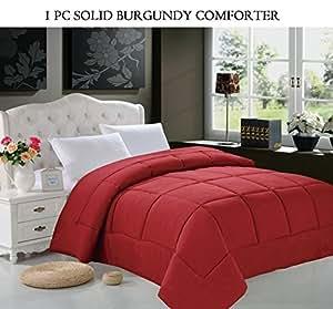 Elegant Comfort Luxurious Super Soft Goose Down Alternative Double-Fill Comforter Duvet Insert, Twin/Twin X-Large, Burgundy