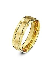 Theia 9 克拉黄金或白金,厚平法院形状,哑光饰面采用抛光抛光纹路/串珠边缘,5-6 毫米结婚戒指 黄色 X
