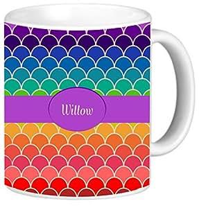 Rikki Knight 彩虹扇贝上印有 Willow 名字图案图案的陶瓷咖啡杯杯,311.84 g,白色