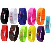 Pappi-Haunt LED 数字腕表生日派对回馈礼物儿童喜爱礼物男孩礼物礼物套装 11 个多色 LED 数字表带 LED 手表礼品手表