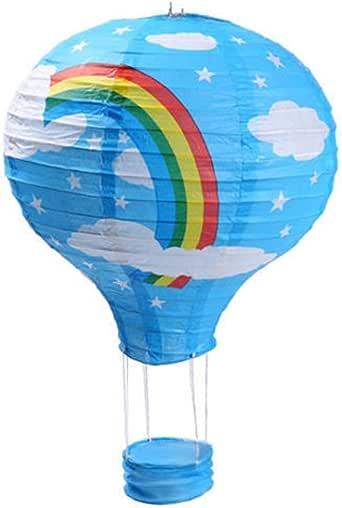 """3 件装热气球纸灯婚礼派对装饰工艺灯罩 彩虹蓝 16"""" (40CM)"""