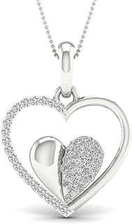 Fehu Jewel 1/4 克拉天然钻石镀金银爱心吊坠项链