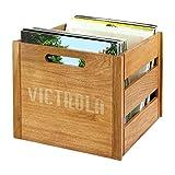 Victrola 木制乙烯基唱片 LP 收纳盒 - 旧木