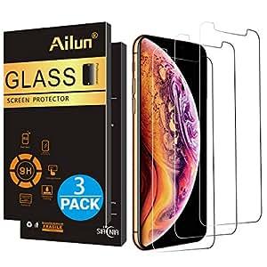 AILUN 屏幕保护膜兼容 iPhone Xs Max(6.5 英寸 2018 版),[3 件装],0.33 毫米钢化玻璃,兼容iPhone Xs Max(6.5 英寸 2018 版),防划痕,外壳友好