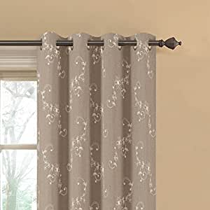 "Window Elements Ashley Embroidered Faux Linen Extra Wide Grommet Curtain Panel Pair, 108 x 84"", Natural"