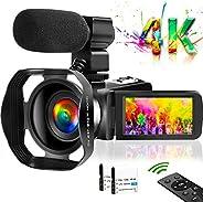 摄像机 4K 摄像机 Vlogging摄像机 YouTube UHD 48M 30FPS 数码变焦摄像机红外夜视 3 英寸触摸屏录像机带兜帽支持网络摄像头麦克风