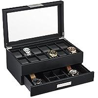 Glenor Co 男式手表盒带阀抽屉 - 12 插槽奢华手表盒显示整理器,碳纤维设计 - 男式珠宝手表金属扣,男式储物箱夹,大号玻璃顶部