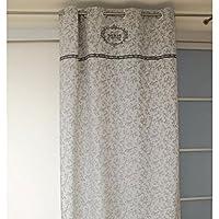 SOLEIL D ' ocre 巴黎窗帘纯棉印花巴黎通过棉灰色140 x 240厘米