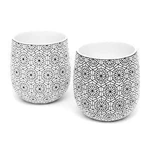 Dobbelt 2 件套双壁咖啡杯,170 g - 拿铁、卡布奇诺、茶 - 现代、现代艺术装饰设计 - 盒子套装,Kop & Hagen 出品 圆形图案 6 盎司