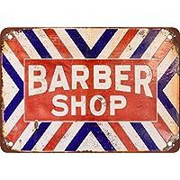 Barber Shop 复古外观复制金属锡标志 30.48X45.72 cm 2