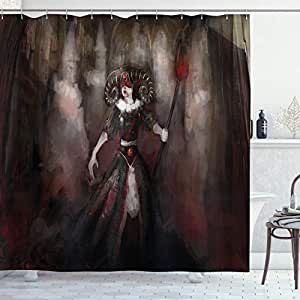 Gothic Shower Curtain by Ambesonne, Medieval Evil Woman Horns Mask Witch Myth Fantasy Old Fashion Scary Watercolor, Fabric Bathroom Decor Set with Hooks, 70 Inches, Black Red Grey