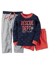Carter's 男童 3 件套棉和法国厚绒布救援部门睡衣套装(12 个月)