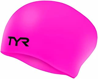 TYR Sport Long Hair Wrinkle-Free Silicone Swim Cap, Pink