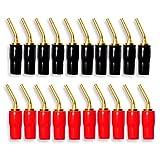FolioGadgets 10 对 2 毫米香蕉插头针螺丝类型音频扬声器电缆连接器镀铜金