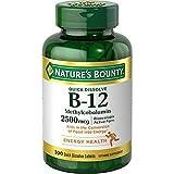 Nature's Bounty 自然之宝 维生素 B-12 甲基钴胺素速溶快速生效舌下含片,每片含有 2500 毫克维生素 B-12,天然樱桃口味(300 片) 1个瓶子 300.00