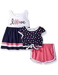 youngland 婴儿女童3件套连衣裙,圆点酥饼上衣,针织短款