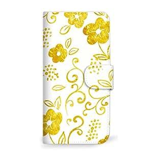 MITAS 智能手机保护壳翻盖型草花可爱  黄色 25_Optimus X (IS11LG_LGI11)