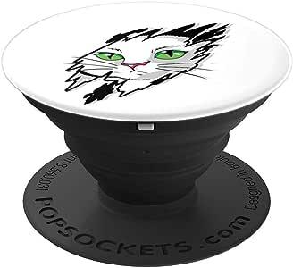 卡通设计图案艺术可爱猫脸盒冰袜夹和支架,适用于手机和平板电脑260027  黑色