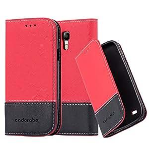 Cadorabo 手机壳适用于三星盖乐世 S4 Mini(设计FAUXLEATHER-Combo) - 带支架功能和卡槽 - 钱包手机壳 Etui 盖袋 PU 皮革翻盖 Red-Black