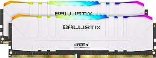 Crucial 美光 Ballistix BL2K16G36C16U4WL RGB, 3600 MHz, DDR4, DRAM, 台式机游戏内存套装 32GB (16GBx2) CL16, 白色