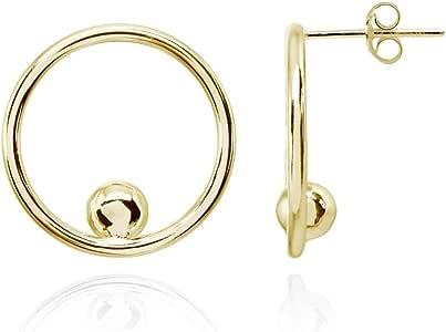 纯银抛光圆圈串珠前环耳钉
