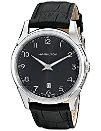 """Hamilton Men's H38511733""""Jazzmaster"""" Stainless Steel Watch with Black Leather Band"""