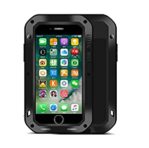 Iphone 7 手机壳,RUIHUI 硬质军事重型铝合金金属盔甲坦克大猩玻璃防震防水防雨防尘/防尘防雪保护套适用于 iphone 7 黑色