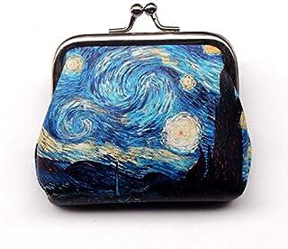 可爱的抽象图案零钱包 - 迷你蓝色搭扣钱包钥匙包钱袋,女孩、儿童钱包女士钱包扣派对礼物