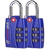 TSA 认可行李锁,锌合金主体,开放式警示红色指示灯,1、2、4 和 6 件装,黑色,蓝色,绿色,银色 蓝色 2 件装