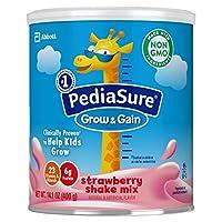 PediaSure 雅培小安素 Grow & Gain 儿童营养奶昔 Non-GMO,含蛋白质、DHA、抗氧化剂、维生素和矿物质,草莓味,14.1盎司/400克,3 件