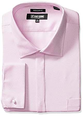 """STACY ADAMS 男士大码织纹纯色正装衬衫 粉红色 18"""" Neck 36-37"""" Sleeve"""