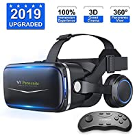 Pansonite 3D VR Headset Virtual Reality Glasses -360° Panoramic with Built-in Stereo Headphones - Large Viewing Immersive Experience VR Headset HD VR Goggles SB-Black