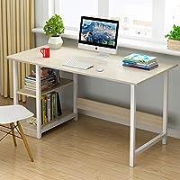 家用带书柜电脑桌寝室双层书架台式电脑桌简易经济型办公桌卧室小桌子学生作业桌写字桌 (枫樱木色, 100cm(宽度40高度72))