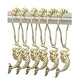 ZILucky 12 件美人鱼装饰浴帘挂钩不锈钢环带滚珠,适用于亚麻衣架,防锈抛光铬用于浴室装饰 金色