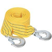 高级起重机牵引带,重型牵引带,*挂钩,13.2 英尺 x 2 英寸牵绳黄色挂钩用于车辆修复、搬运、脱落等等