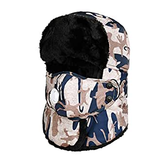 VBIGER Trooper Trapper Hat Winter Windproof Ski Hat with Ear Flaps and Mask Warm Hunting Hats for Men Women  Z-coffee One Size