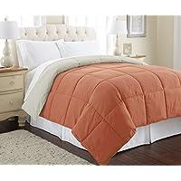 Amrapur Overseas 鹅绒替代品超细纤维绗缝双面棉被/被芯 - 超柔软防过敏床上用品 - 中等保暖适合所有季节 - [Full/Queen,橙红色/燕麦色]
