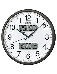 セイコークロック 掛け時計 黒 本體サイズ:直徑35.0x5.2cm 電波 アナログ カレンダー溫度 濕度 表示 BC405K