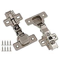 全框橱柜铰链隐藏式覆盖层,适用于厨房、浴室| 柔软闭合带内置阻尼器 | 不锈钢金属饰面 | 含螺钉 镀镍 Bore Diameter: 35mm 43237-2