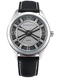 HELMASK 手表 - 真皮黑色圆男士男士指针式石英腕表