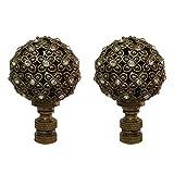 Royal Designs 花朵图案球,带水晶点缀灯顶饰 古铜色 Set of 2 F-5074AB-2