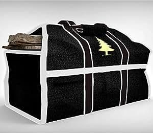 Skonzig 优质柴木手提包和支架 - 真品,超耐用帆布,重型日志手提包 - 持久耐用 - 为您的壁炉提供*佳投资! 经典黑色 SKLOG2-201512
