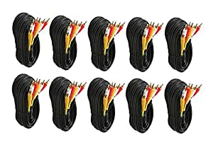 C&E CNE22126 6-Feet St VCR Cable RG59 2x Shielded, Gold, 10-Pack