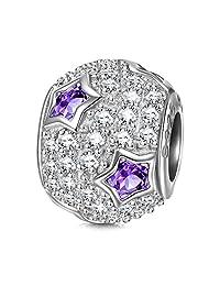 """NINAQUEEN""""星形 925 纯银紫色 AAAA 立方氧化锆珠吊坠适合手链和项链 白色"""