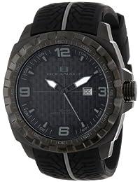 Oceanaut 男式 OC1113 Racer 模拟黑色不锈钢手表,带胎面花纹